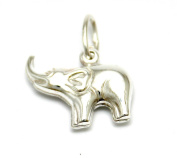 Solid Silver 925 puffed elephant charm pendant fits on Links of London bracelet or necklace