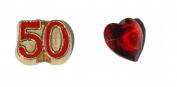 50th Birthday set of 2 Floating charms - 50 red and gold and red heart
