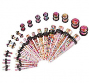 Bodyj4You Women's 36 Pieces Taper Kit Tapers With Plugs Sparkle Stretching Kit 18 Pairs Glitter Rainbow