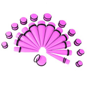 Bodyj4You Men's Big Gauges Kit 24 Pieces Tapers And Plugs 00G 20Mm Inch Big Gauges Ear Stretching Kit Acrylic Neon Pink
