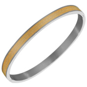 Stainless Steel Two-Tone Religious Cross Lord's Prayer in Portuguese Oval-Shape Bangle Bracelet