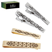 BMC 4pc Mens Ornate Etched Pattern Gold Silver Coloured Fashion Tie Bar Clips
