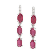 10k White Gold 1.56ct Genuine Oval Ruby and Diamond Drop Earrings
