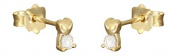 Hobra-Gold Heart Stud Earrings 585 Gold-Plated with Small Hearts GOLDOHRSTECKER with Zirconia