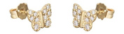 Hobra GOLD SMALL BUTTERFLY EARRINGS 585 GOLD GOLDOHRSTECKER EARRINGS WITH CUBIC ZIRCONIA