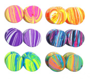 LilMents 6 Pairs of Paint Strokes 10mm Round Circle Fake Cheater Plug Tunnel Summer Stainless Steel Stud Earrings Lot Set
