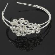 Skyllc® Silver Plated Crystal Wedding Bride Headband Tiara Hair Alice Band