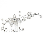 Skyllc® Silver Plated Crystal Flower Wedding Party Hair Comb Pin