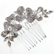 Skyllc® Flowers Silver Plated Pearl Rhinestone Crystal Party Hair Comb Pin