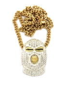 Iced Out White Goon Mask Man Pendant with 90cm Cuban Link Chain Necklace in Gold-Tone