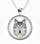 WOLF - Glass Picture Pendant on Chain - Silver Plated