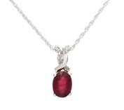 10k White Gold Genuine Oval Ruby and Diamond Twist Necklace