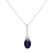 10k White Gold Genuine Oval 1.10ct Sapphire and Diamond Necklace
