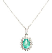 10k White Gold Genuine Oval 1.20ct Emerald and Diamond Halo Necklace