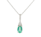 10k White Gold Genuine Oval 1.10ct Emerald and Diamond Necklace