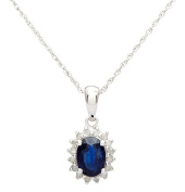 10k White Gold Genuine Oval 1.20ct Sapphire and Diamond Halo Necklace
