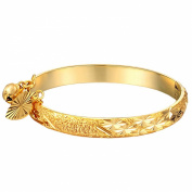 UM Jewellery Gold Plated Infant Charms Bracelet Bangle for New Born Baby with Heart Leaf,Bell 13.5cm