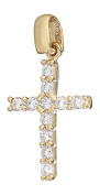 Hobra Gold BAPTISM SPaRKLING GOLDKREUZ 585 Gold PENDANT WITH CROSS PENDANT WITH ZIRCONIA