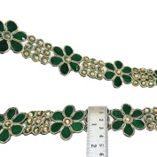 Beaded Trim Sari Border Floral Embroidered Ribbon 4.3 Cm Wide Trim By The Yard