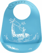 modern-twist Baby Silicone Bucket Bib, Giraffe Giggles, Blue