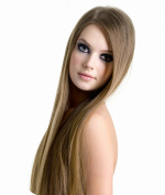 Tressmatch® 41cm - 46cm Remy (Remi) Human Hair Clip in Extensions Light Brown (Colour #8) 9 Pieces (Pcs) Full Head Set [Set Weight