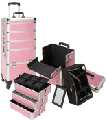 Seya 4 in 1 Rolling Makeup Cosmetic Case w/ 4 Wheels and Adjustable Dividers - Pink Gator w/ Silver trim