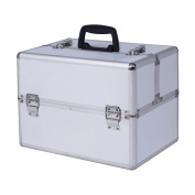 Super buy 36cm Pro Aluminium Makeup Train Case Jewellery Box Cosmetic Organiser Silver New