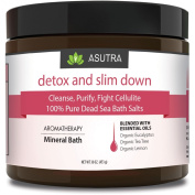 """DETOX & SLIM DOWN"" - Cleanse, Purify & Fight Cellulite - 100% PURE DEAD SEA BATH SALTS / Rich In Vital Healing Minerals / Aromatherapy /Organic Essential Oils of Eucalyptus, Tea Tree and Lemon - 470ml"