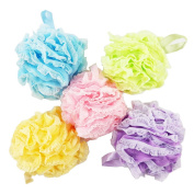 Nicesh Bath Sponges with Mesh & Lace Loofah Extra Large 60g, Assorted Colours , 5 Counts