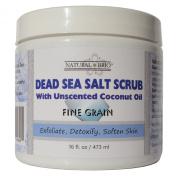 Natural Brio Pure Dead Sea Salt Body Scrub with Unscented Coconut Oil for Skin Care, 470ml