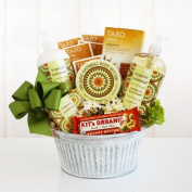 Organic Spa Gift Basket with Hydrating Oatmeal Bath and Body Products and Chai Tea