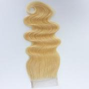 20cm - 50cm Brazilian Virgin Human Hair Body Weave Top Lace Closure (4*4) 3 way part 613# Bleach Blonde