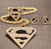 Lvxuan 2014 Fashion Enamel Crystal Gold Geometry Superman Necklace Earring Ring Jewellery