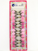 Tara Girls Twinbead Bubble Ponytail Holders - Shades Of Pink - 12 Pcs.