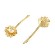 Pandahall 1 Pcs 76mm Elegant Women Golden Alloy Shell Hair Bobby Pins with ABS Acrylic Beads