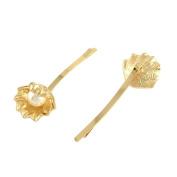 Pandahall 1 Pcs 76mm Elegant Women Golden Alloy Shell Hair Bobby Pins with ABS Acrylic Beads