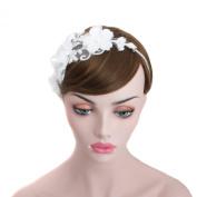 Wedding Bridal Rhinestone Chain Hair Wrap Headband, Bridal Organza Floral Forehead Headpiece