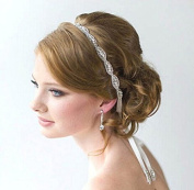 CIMC LLC Luxury Wedding Headband Rhinestone Flower Elastic Hair Accessory - Ideal for Bridal Party, Wedding, Bridesmaids, Proms, Pageants