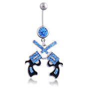 Oasis Plus Cool Revolver Blue Crystal Navel Ring Rhinestone Belly Button Rings Hoop Body Glitter Piercing Jewellery
