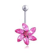 Oasis Plus Flower Pink Crystal Navel Ring Rhinestone Belly Button Rings Hoop Body Glitter Piercing Jewellery