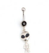 Oasis Plus Alien ET Black Crystal Navel Ring Rhinestone Belly Button Rings Hoop Body Glitter Piercing Jewellery