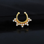 Oasis Plus Clear Crystal Gold Clip On Septum Fake Nose Ring Hoop Non Piercing Hanger Nose Rings Stud Body Jewellery