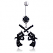 Oasis Plus Cool Revolver Black Crystal Navel Ring Rhinestone Belly Button Rings Hoop Body Glitter Piercing Jewellery