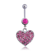 Oasis Plus Heart-shape Pink Crystal Navel Ring Dangle Belly Button Rings Hoop Body Glitter Piercing Jewellery