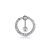 Oasis Plus Sexy Round Clear Crystal Navel Ring Belly Button Rings Hoop Body Glitter Surgical Steel Piercing Jewellery