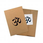 "Conscious Ink"" Om (Sanskrit)"" Manifestation Tattoo Greeting Card With Temporary Tattoo"