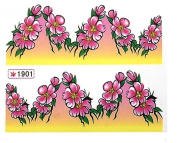 1 Sheet Pretty Flowers Water Transfer 3D Painting Easy Attach Popular Nail Art Stickers Colour Code39