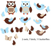 Blue Birds and Owls Decals for Kids Room, Birds and Owls