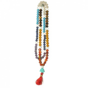 Odishabazaar Seven Chakra Unknoted Japa Mala 108 Count with Buddha Head Guru Beads Balanced Emotion Aligned Chakras