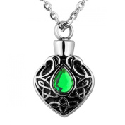 ZARABE Cremation Jewellery Green Crystal Celtic Knot Urn Necklace Memorial Ash Keepsake Chain